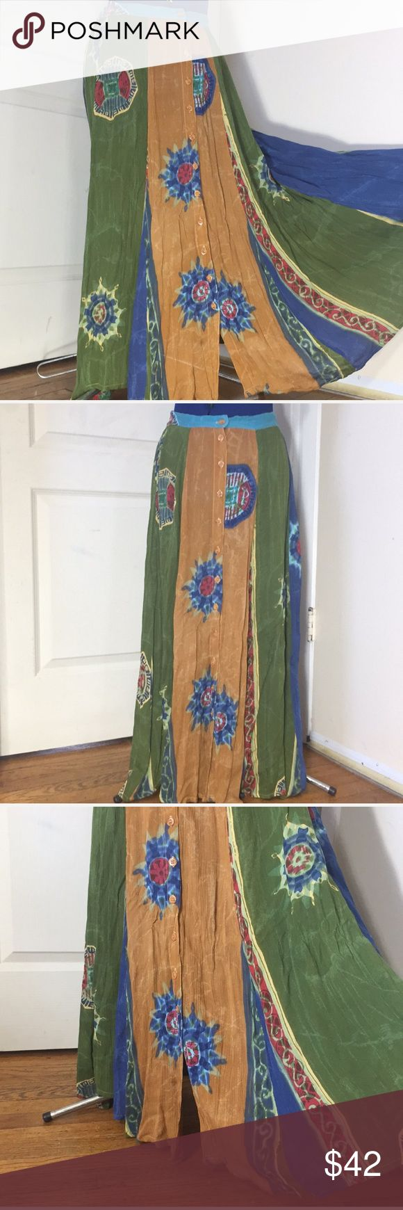 """Boho tribal maxi skirt button down 30"""" waist Great condition. New with tags. Never worn. Didn't fit. Tag says Small, fits like a Medium/Large. Material 100% Rayon Back of waistband is elastic  Waist 30"""" unstretched  Made in India  Any questions just ask :) Skirts Maxi"""