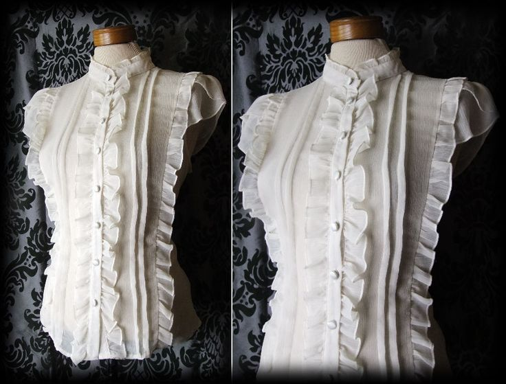 Gothic Cream Sheer Frilled VICTORIAN GOVERNESS High Neck Blouse 14 16 Steampunk - £24.00