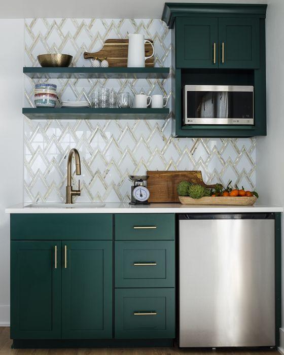 Hunter Green Cabinets, Gold And Marble Zig-zag Backsplash