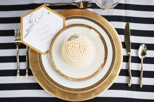 Gold + stripes. And I love the curvy silverware