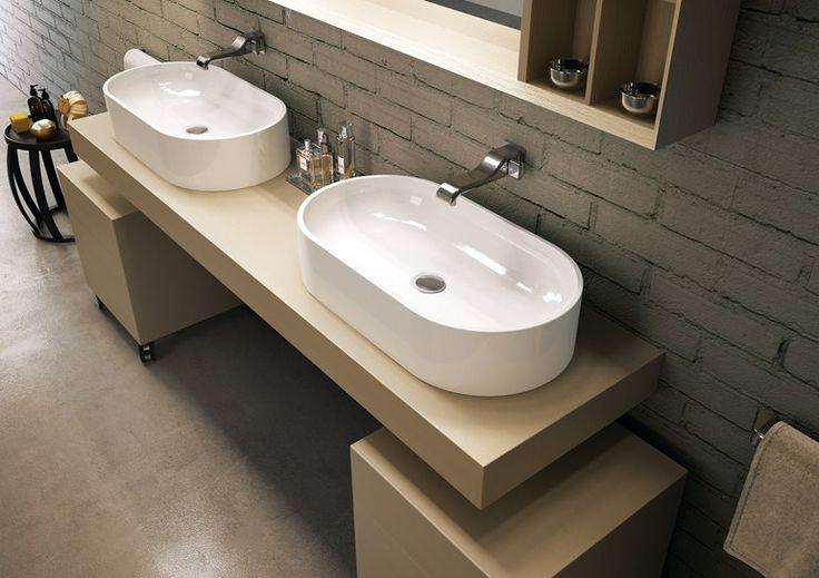 Countertop oval ceramic washbasin Pass Line by CERAMICA FLAMINIA