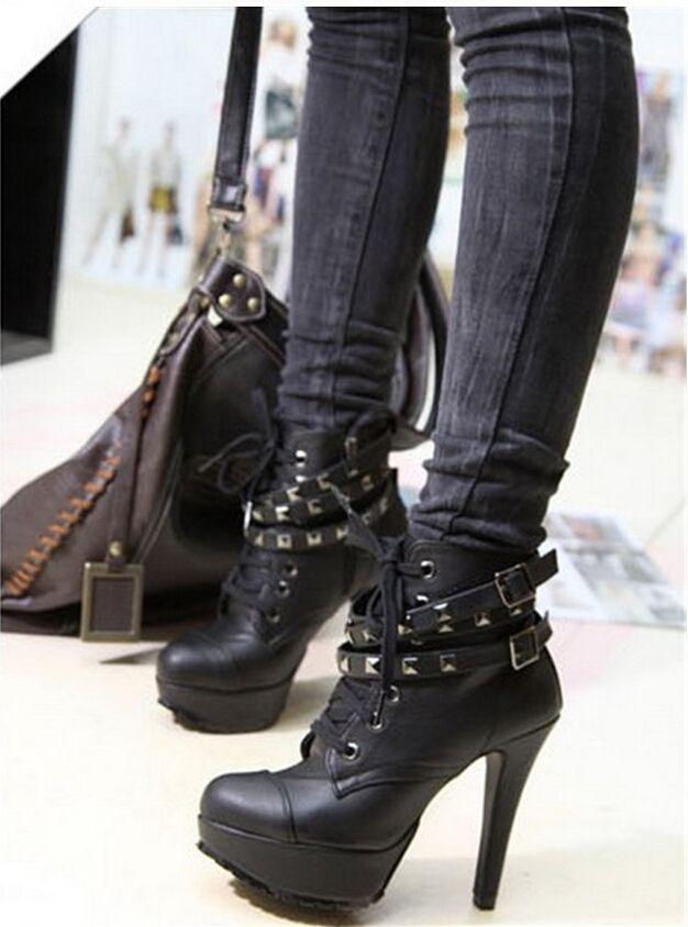 Мотоцикл зашнуровать лодыжки кожаные сапоги на высоких каблуках черный панк заклепки женщины туфли на платформе для новый 2016 осень старинные новое купить на AliExpress