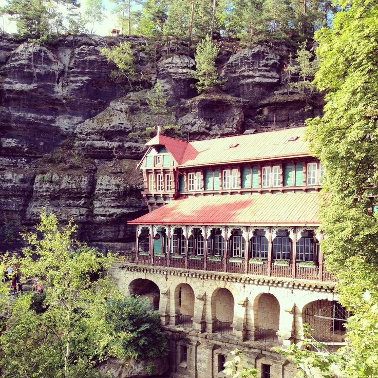 At Pravčická Brána there's an incredible building built into the cliff!