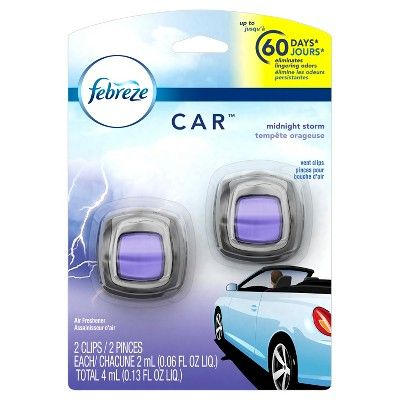 Febreze Car Midnight Storm Scent Air Freshener Vent Clips 2 count : Target