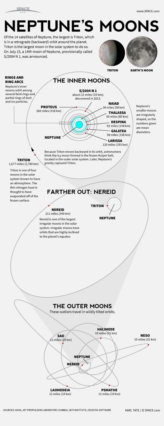 Moons of Neptune: Giant Blue Planet's 14 Satellites Unmasked #Infographic