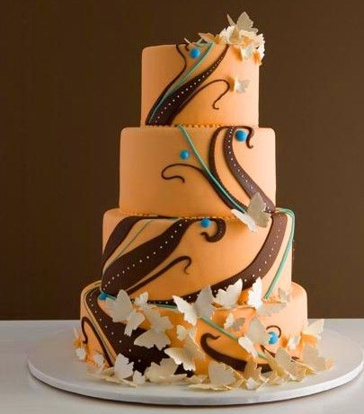 Orange & Brown with butterflies cake: Fall Wedding Cakes, Cakes Ideas, Cakes Art, Cakes Girls, Amazing Cakes, Colors Schemes, Beautiful Cakes, Orange Wedding Cakes, Traditional Wedding Cakes