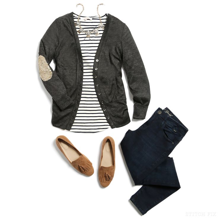 Ideas - I love the elbow patch sweater over the striped shirt.