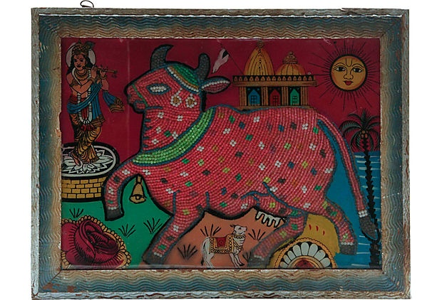Indian Beadwork Bull Painting