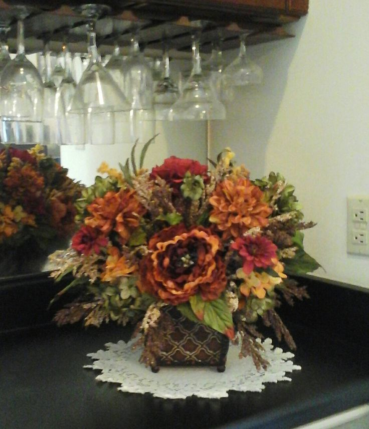 Floral Arrangement, Small Tuscan Silk Floral Centerpiece, SHIPPING  INCLUDED, Designer, Rustic Country