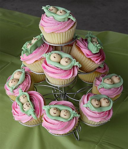Peas in a pod - Baby shower cupcakes for a twins baby shower. Theme was two peas in a pod.