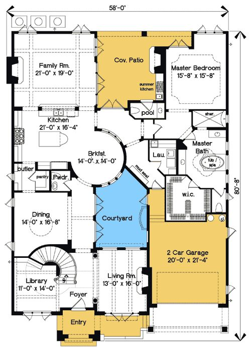 Plan 83376cl best in show courtyard stunner the for House plans with courtyard in middle