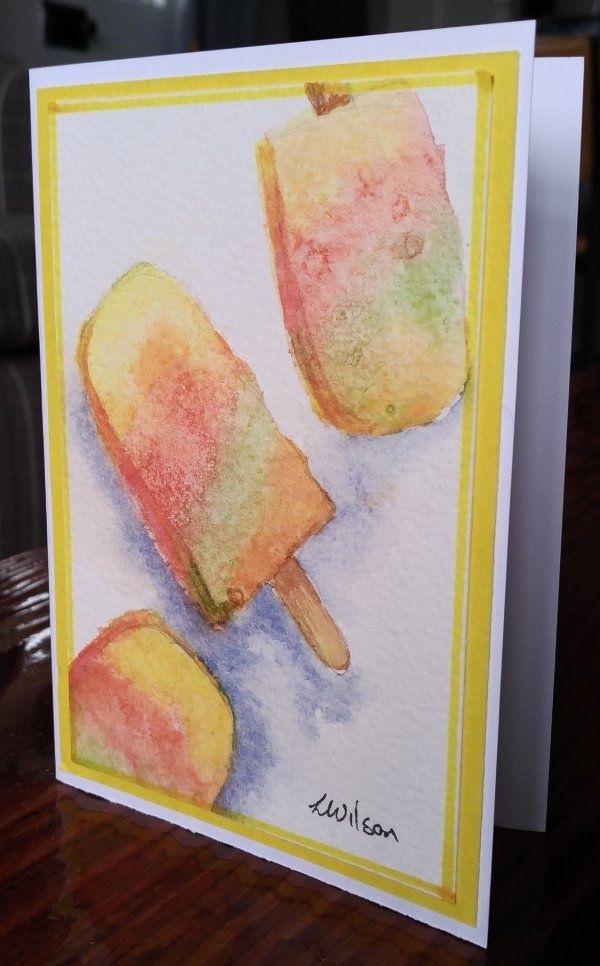 Lovely Icy patterns on this watercolour painted Popsicle's are made with salt sprinkles.    This greeting card is a hand painted and signed original painting not a print. For a truly unique card for someone special. They come with an envelope and wrapped in a cellophane bag. Blank in side so perfect for any occasion. Card size. 10. 5 cm by 14.7 cm | Shop this product here: http://spreesy.com/Goldstarwork/7 | Shop all of our products at http://spreesy.com/Goldstarwork    | Pinterest…