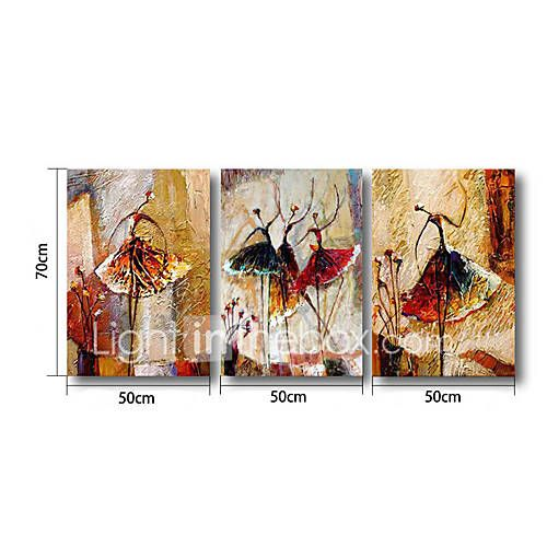 Pictat manual Abstract Orizontal,Modern Trei Panouri Canava Hang-pictate pictură în ulei For Pagina de decorare 5160004 2017 – $71.19