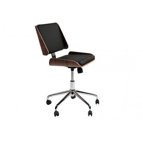 Super lækker retro kontorstol. Det elegante, formstøbte understel i krom bidrager til et overordnet billede af en eksklusiv kontorstol. Det samme gør kombinationen af træ og læder.
