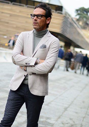 【休日ジャケパン】オフホワイトジャケット×グレータートルネック(メンズ)   Italy Web
