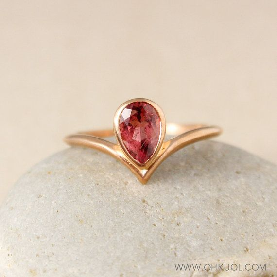 Teardrop Pink Tourmaline Point Ring by OhKuol