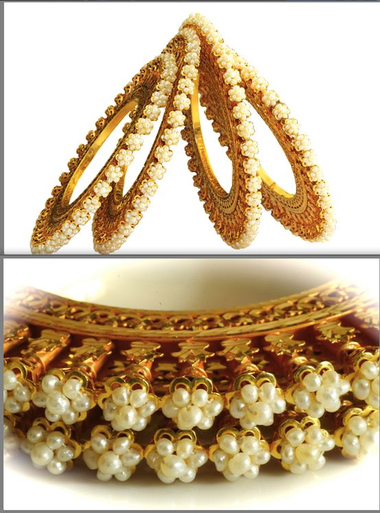 Matariya Gold Basras ::  Four vintage bangles that are popularly known as Matariya in Bikaner. Basra pearls studded in shape of flowers with leaves and stems in gold.  Studded with Basra pearls weighing 30 gms and made with 200 gms of 22K Gold.