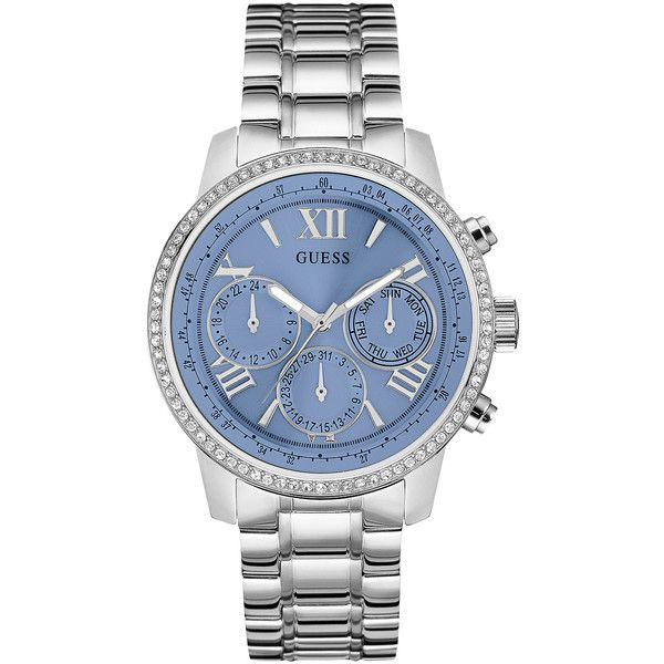 GUESS Silver-Tone and Blue Feminine Classic Sport Watch found on Polyvore featuring jewelry, watches, guess bracelet, blue watches, steel bracelet, guess watches and silvertone watches