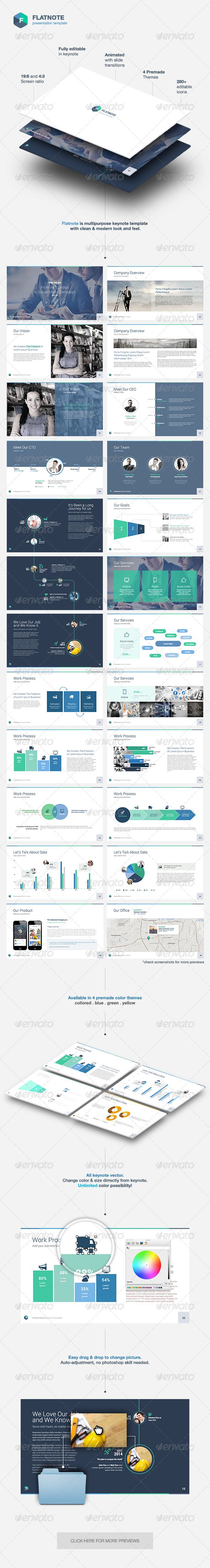 Flatnote - Business Keynote Template - Keynote Templates Presentation Templates