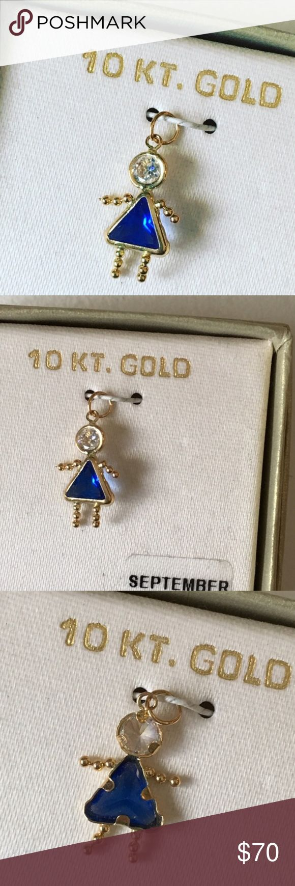 "NEW 10K Gold September Girl Birthstone Pendant Brand new in box. Pendant measures about .75"" long. Pendant to put on your own chain necklace or bracelet. Pendant only, does not come with a chain. Jewelry"