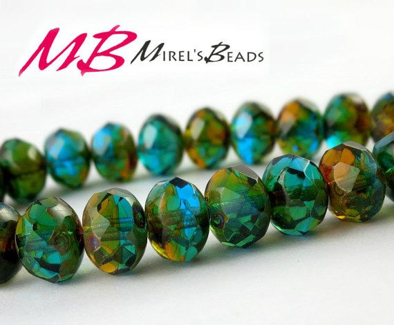 8x6mm Blue Green and Amber Rondelles Faceted Picasso