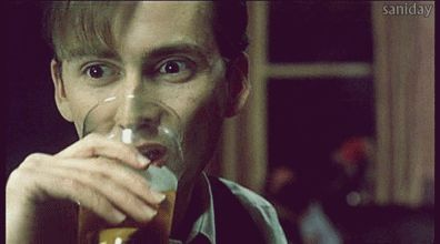 David Tennant drinking a beer gif because I'm geeking out #DrWho #beer
