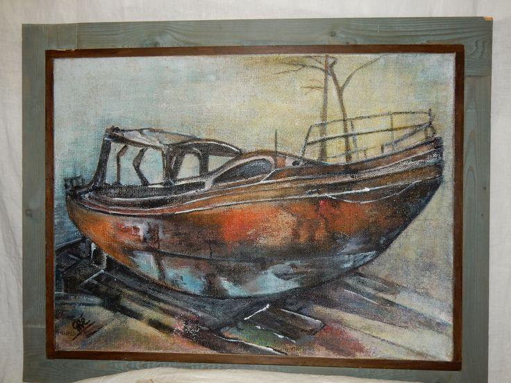 Kajuitboot geschilderd in prachtige kleuren door Gré van de Weer uit Den Helder. Geboren te Nieuw Amsterdam, Drenthe. Afmetingen totaal 96 bij 76 cm. Zonder grijze lijst is de afmeting 84 bij 64 cm. Schilderij zelf is 80 bij 60 cm.  Prijs € 85.00.