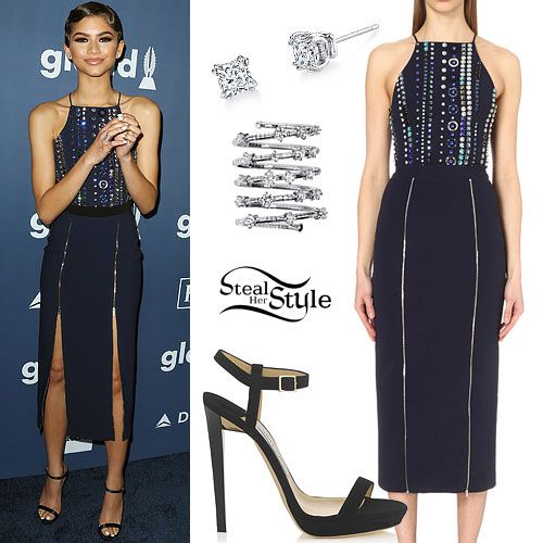 Zendaya arrived at the 27th Annual GLAAD Media Awards last night wearing the David Koma Crystal-Embellished Midi Dress ($2,480.00), a navy blue satin version of the Jimmy Choo Claudette Sandals ($795.00, wrong color), Harry Kotlar Diamond Earrings (exact style not available), and a Mattia Cielo Rugiada Five-Circle Wrap Ring ($6,400.00).