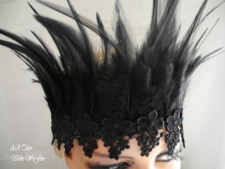 Diademe - Feder BLACKCROWN Krone, Haarschmuck Tiara Spitze - ein Designerstück…
