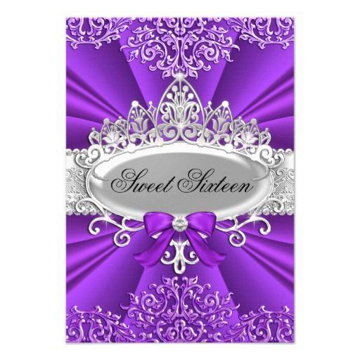 Purple Tiara & Damask Sweet Sixteen Invitation Personalized Invitations