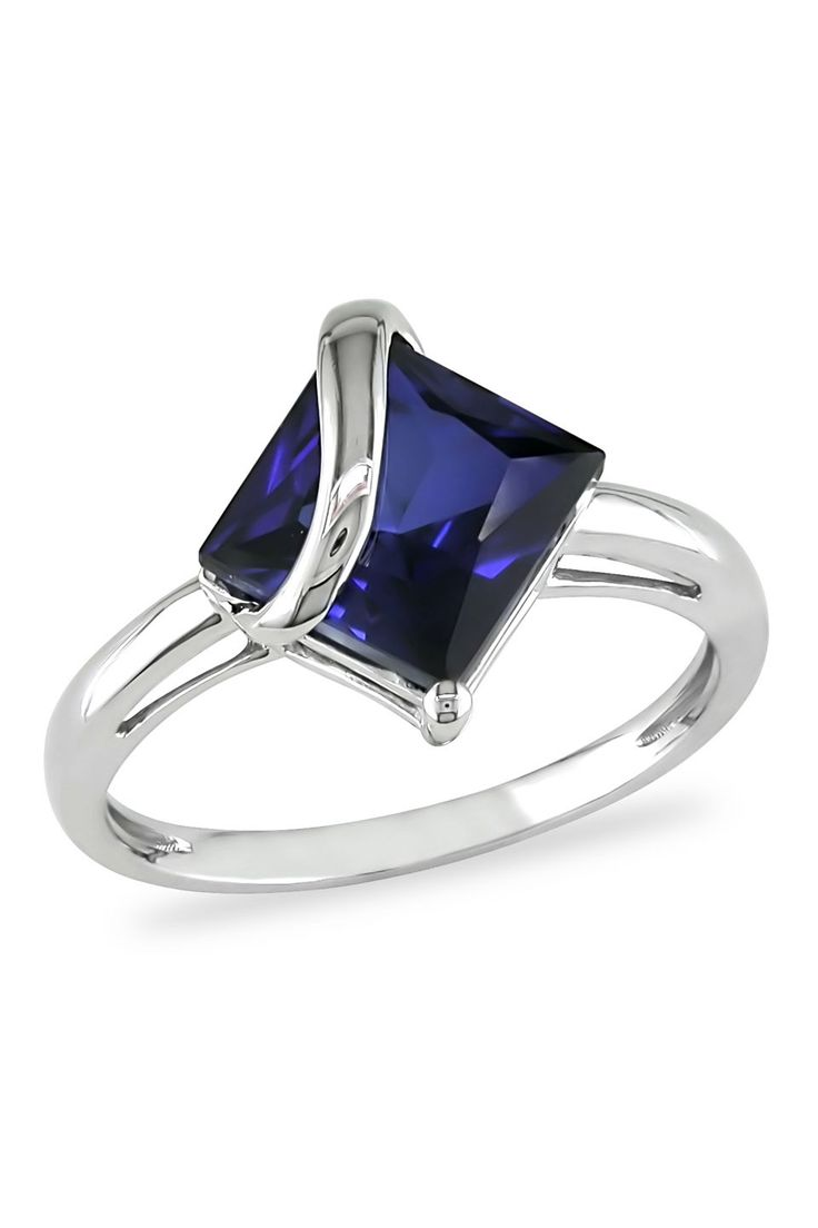 September Symphony 3 ct Created Blue Sapphire Ring in 10k White Gold - Beyond the Rack