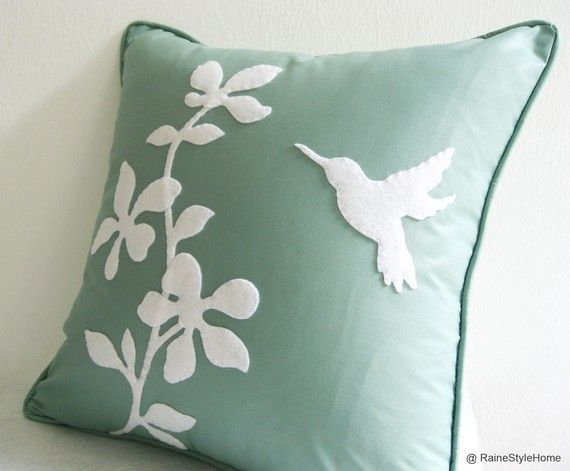 cushion covers with felt flower | ... Bird Mint and White Cushion Cover. Decorative Pretty Felt Appliques
