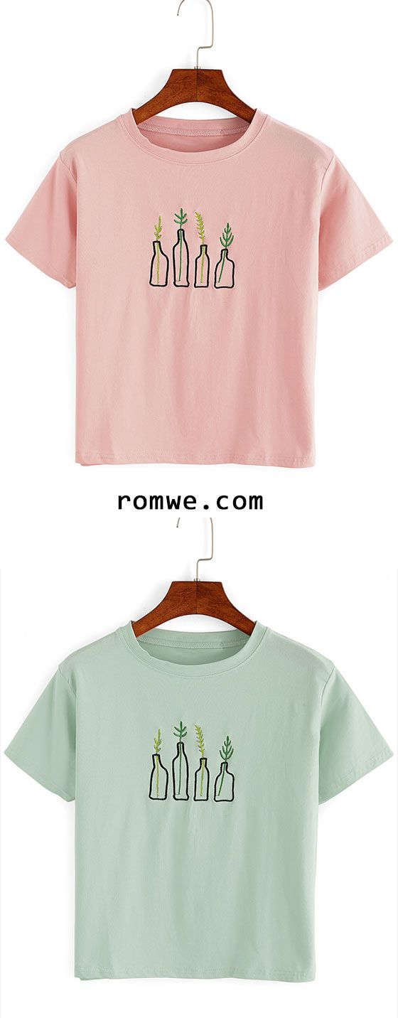 Design t shirt tips - Cute Plant Embroidered T Shirt Chic Design Timeless Colorway Rowme Com