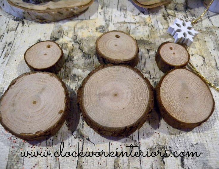 How to Make Wood Slice Snowmen ornaments