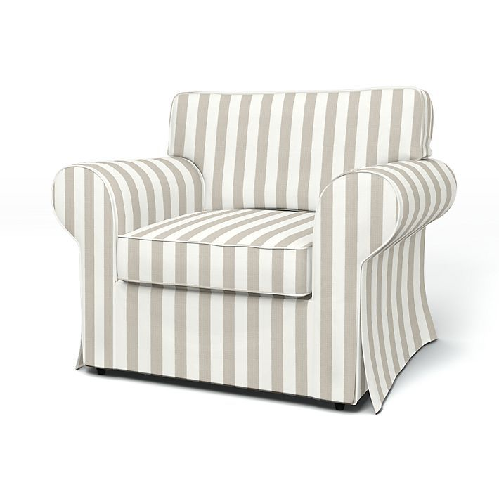 Ektorp, Armchair Covers, Armchair, Regular Fit using the fabric Stockholm Stripe Sand Beige