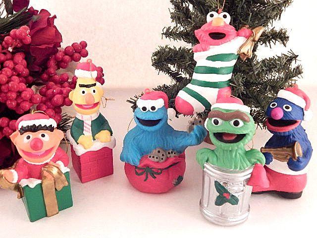 Sesame Street Ornaments Jim Henson Muppets Figurines Vintage 1980s Christmas Decor Ernie Bert Cookie Monster Elmo Grover Oscar the Grouch