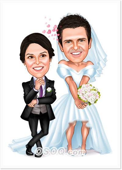 Bride And Groom Caricatures Wedding Caricatures Pinterest