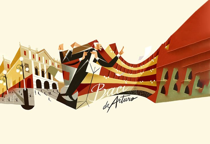 Baci da Arturo - Una cartolina d'autore per Arturo Toscanini, Riccardo Guasco #illustrazione
