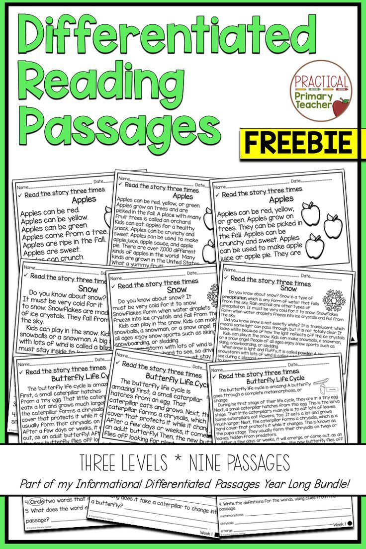 - Differentiated Reading Passages And Questions INFORMATIONAL