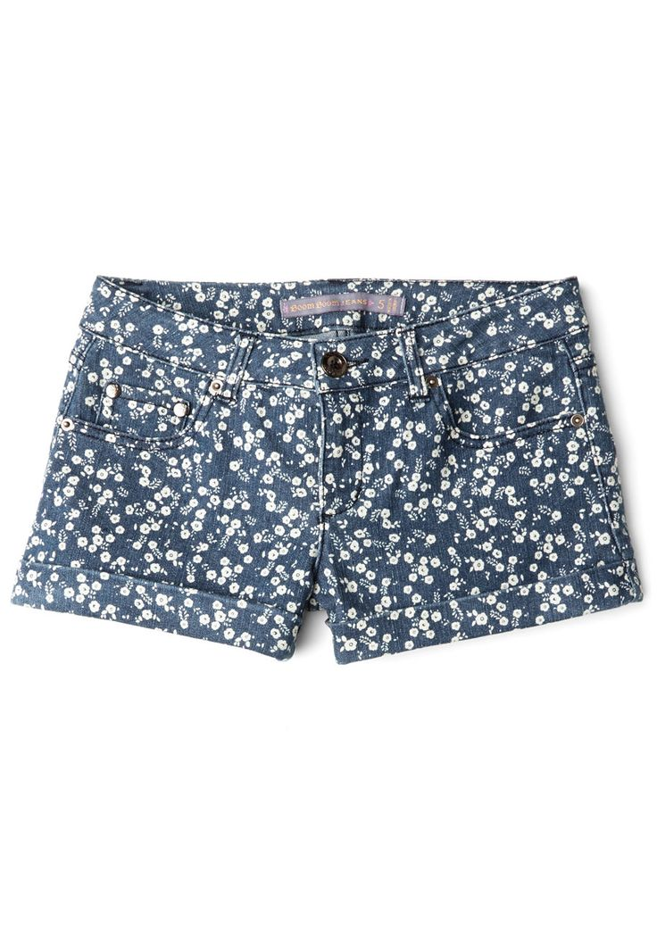 Patch of Sunlight Shorts. Wherever you perch in these pretty, denim shorts, you feel as though rays of warm summer sunlight fall right onto you! #blue #modcloth