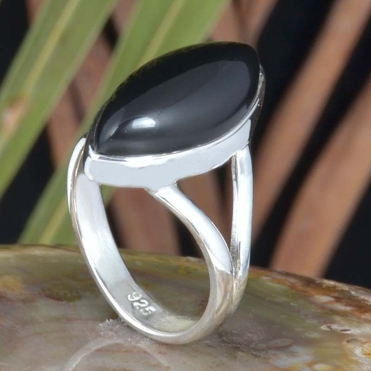 925 STERLING SILVER NEW STYLISH BLACK ONYX EXCLUSIVE RING 4.49g DJR11487 SZ-7 #Handmade #Ring