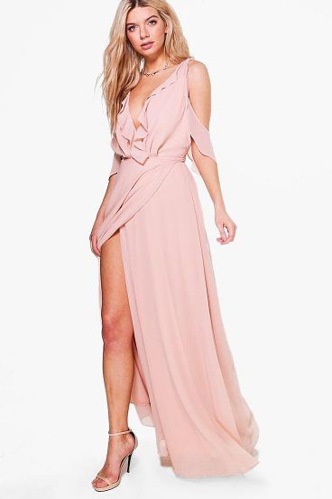 0c6109ff6bc Boutique Alaina Chiffon Frill Wrap Maxi Dress by Boohoo. Dresses are the  most-wanted wardrobe item for day-to-night dressing. From cool-tone whites  to block ...