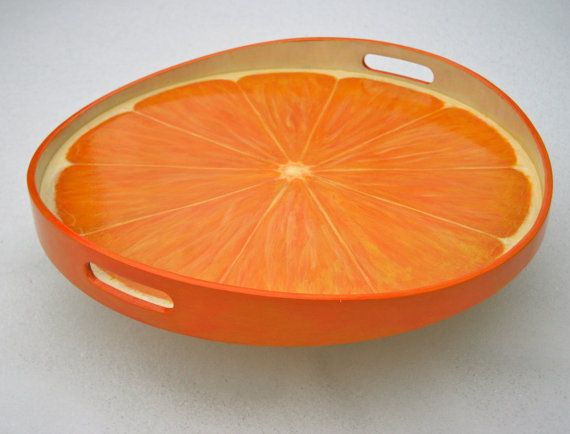 Hand Painted Wood Serving Tray 17 Orange Slice or by JaneSuzanne, $120.00