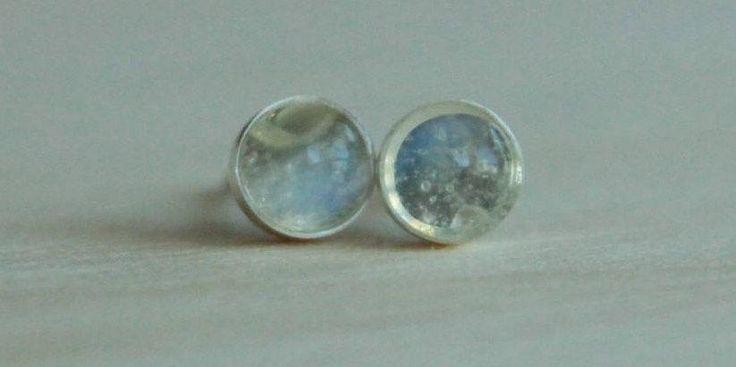 Adularia (Blue Flash Ceylon Moonstone) Bezel Set Gemstone 5mm on Titanium/Niobium Posts - Hypoallergenic Stud Earrings for Sensitive Ears