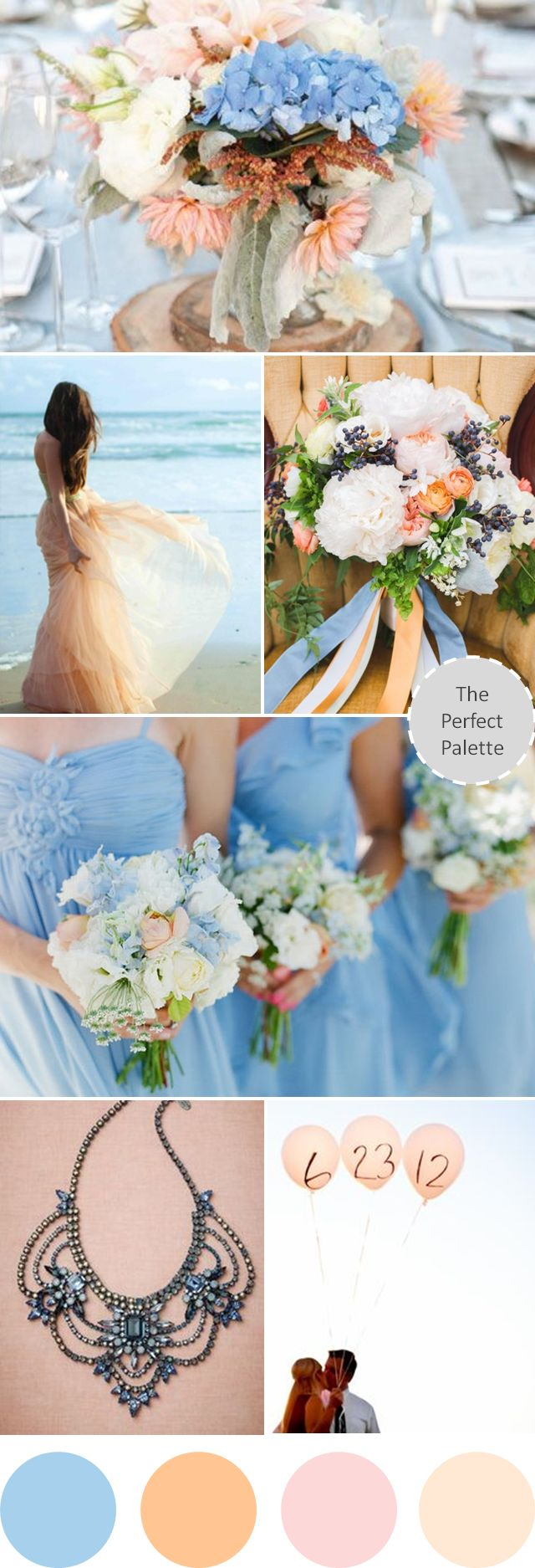 Wedding Colors I Love | Shades of Pale Blue + Peach http://www.theperfectpalette.com/2013/08/wedding-colors-i-love-shades-of-pale.html