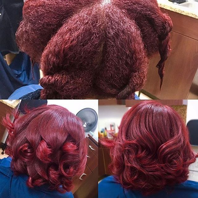 Obsessed with this rich red #haircolor by #atlstylist @rachel_redd ❤️ Healthy natural hair #voiceofhair ========================== Go to VoiceOfHair.com ========================= Find hairstyles and hair tips! =========================