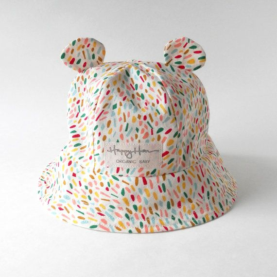 Baby Sun Hat in Confetti Organic Cotton, Baby Bear Ear Toddler Summer Hat, Eco Friendly Baby Boy or Girl Bucket Hat, Modern Newborn Sun Hat