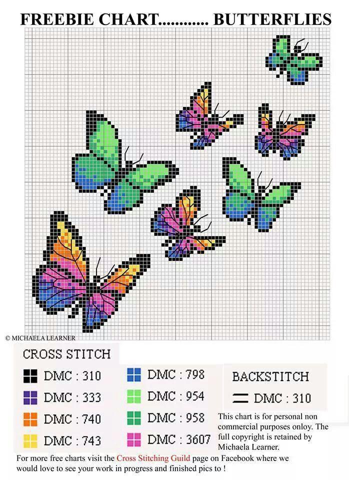 Butterflies cross stitch chart