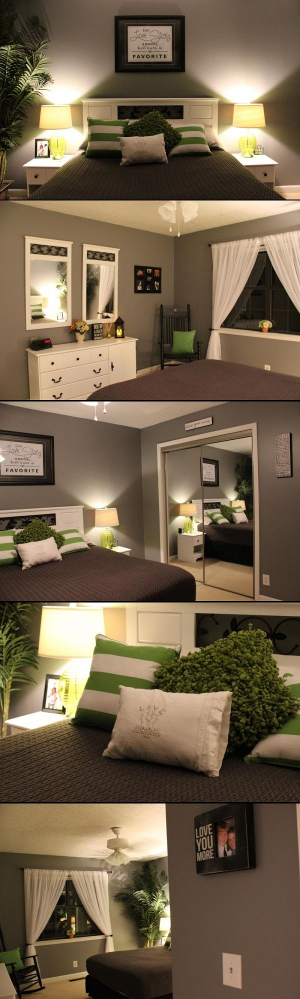 Gray and Green Bedroom. i like the color scheme