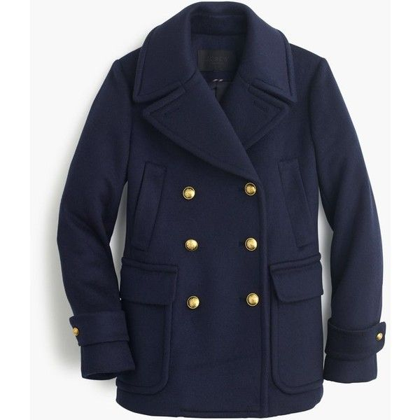 J.Crew Collection Cashmere Majesty Peacoat ($1,950) ❤ liked on Polyvore featuring outerwear, coats, evening coat, lapel coat, j crew peacoat, j.crew and cashmere peacoat